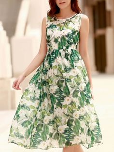 SHARE & Get it FREE | Elegant Jewel Neck Sleeveless Floral Printed Pleated Dress For WomenFor Fashion Lovers only:80,000+ Items • New Arrivals Daily Join Zaful: Get YOUR $50 NOW!