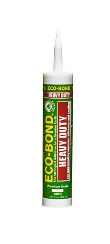 ECO-BOND Heavy Duty by ECO-BOND. $7.05. Heavy Duty environmentally friendly adhesive/sealant that bonds to most common building materials for general, all-purpose adhesion and sealing. Quick grabbing with a tack free time of 20 minutes. Strong (400 psi shear strength, 450 psi tensile strength) and flexible (550% elongation). Low VOC, no/low odor and 100% waterproof. Approved for both indoor and outdoor usage. Cures fully submerged.