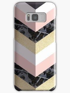 Chevron Pattern 1 - Marble and Gold  on Phone Case and Skin . | . Design by Dominique Vari . | Redbubble . | #tech #accessories #phonecase #phoneskin #urbanstyle #geometric #chevron #pattern #stylish #black #marble #fauxglitter #goldglitter #pastelpink #dominiquevari #redbubble