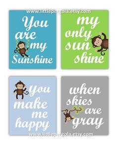Monkey Art Kids, Nursery art boys Nursery Decor Prints You Are My Sunshine Monkey Art - 8x10 - baby shower gift, for boy or girl on Etsy, $55.00