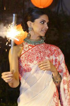 Found on my saree wardrobe bollywood Indian fashion red and white sari Deepika Padukone