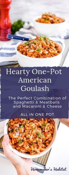 This Hearty American Goulash combines macaroni with a rich meaty sauce for the perfect cold weather comfort food. Popular Recipes, Great Recipes, Interesting Recipes, Favorite Recipes, Fancy Recipes, Popular Food, Amazing Recipes, Popular Pins, Delicious Recipes