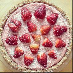 Raw Strawberry Coconut Pie.  - jonsiandalex.com for recipe -