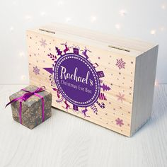 Personalised Christmas Eve Box With Snowflake Wreath - Blue - Purple - Night Before Christmas Box - Children's - Xmas - FREE UK DELIVERY!