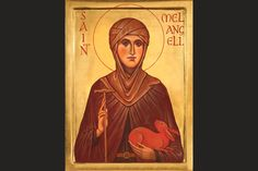 saint melangell, patron saint of bunnies, by the hand of cristabel anderson