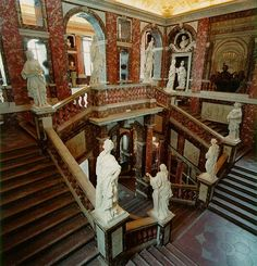 Stockholm Drottningholm palace hall staircase House Staircase, Grand Staircase, Staircase Design, Peles Castle, Medieval Castle, Stairs Architecture, Classical Architecture, Chateau Hotel, Victorian Manor