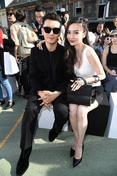Huang Xiaoming and Angelababy attend the Givenchy Menswear Spring/Summer 2017 show as part of Paris Fashion Week on June 24, 2016 in Paris, France.