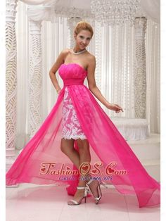 Fabulous low price pink camo wedding dress Hot Pink High low Prom Dress For