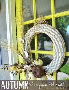 Autumn Pumpkin Wreath Tutorial at Tatertots and Jello!! #DIY #Fall