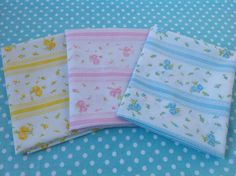 Trio of Sweet Vintage Sheet Fat Quarters, Vintage Sheets, Fabric Bundle, Quilting Supplies