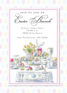 Inviting Company Easter Brunch Table Setting Invitation