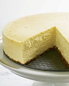 """martha stewart cheesecake!! Once chilled, this cake can be covered with plastic wrap and refrigerated for up to three days. In fact, it actually tastes best after being chilled overnight. Let it stand at room temperature for 20 minutes before serving.Adapted from """"Martha Stewart's Baking Handbook."""""""