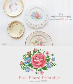 vintage inspired floral plate tutorial
