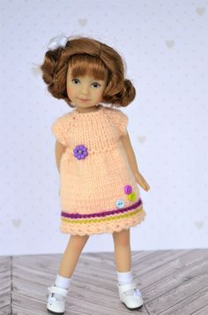 """This Peach Dress for Spring Wear fits 8"""" Heartstring dolls by Dianna Effner. 