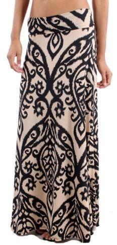 Plus-Size Damask Maxi Skirt
