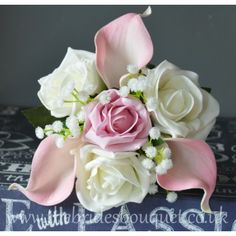 Flower Girl Bouquets - Pink Calla Lily, Rose & Gypsophila - Choose Rose Colours
