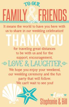 Thank You Note for guests, perfect for the welcome bags for your beach themed wedding :) Turquoise and Coral colored!
