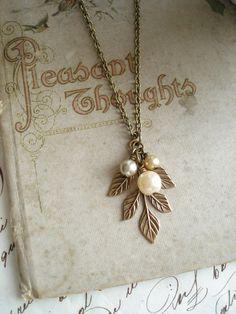 Leaf Necklace. Woodland Necklace. Antiqued by PreciousPastimes
