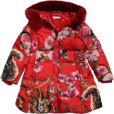 Down Padded Animal Print Coat, Dolce & Gabbana, Girl