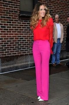 Red-Long-Sleeve-Blouse-Hot-Pink-Wide-Leg-Pants-White-Leather-Pumps