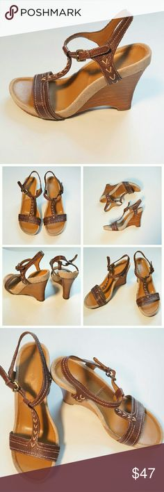 TAHARI Brown Leather & Suede Wooden Wedge Heels Size: 7  EXCELLENT USED CONDITION  Only visible wear is on soles (see photos) Tahari Shoes Wedges