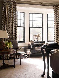 Gorgeous Window Treatments accross multiple windows, like dining room Black Window Trims, Black Windows, H Design, House Design, Design Ideas, My Living Room, Living Spaces, Bay Window Treatments, Transitional Window Treatments