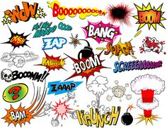 Instant Download Superhero Clip Art Digital Comic Book Clip Art Super Heros Text and Bubbles Clipart - Bang Boom Zap Sound Sayings 0320