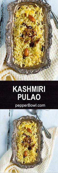 Kashmiri Pulao Recipe, easy and delicious perfect for Indian style potluck, for party. Made with milk and loads of dry fruits. And always turnouts as a super hit dish whenever we make at homewith step by step pictures. Kashmiri Recipes, Vegan Indian Recipes, Vegetarian Recipes, Cooking Recipes, Punjabi Recipes, Almond Recipes, Healthy Recipes, Indian Dishes, Pakistani Dishes