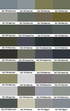 Pin by me arino on ral grey charts egs for conservatory for Lrv paint color chart