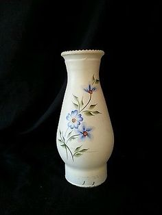 Vintage Floral Hurricane Lamp Shade Handpainted Off White Blue Floral
