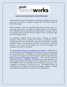 Greater Beloit Economic Development Corporation announces the support of the school district of Beloit Referendum. Economic Development, School District, Fails, Ideas, Thoughts, Thread Spools