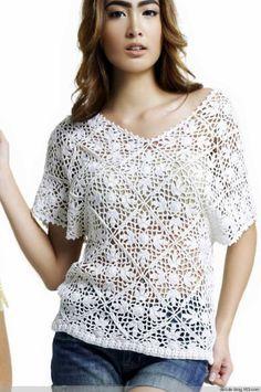 Crochet, Lace; Crochetemoda: Blusa Branca de Crochet  -- pattern