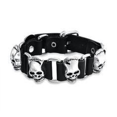 Mens Leather Goth Steel Link Belt Buckle Alien Skull Bracelet ($15) ❤ liked on Polyvore featuring men's fashion, men's jewelry, men's bracelets, black, mens biker bracelets, mens leather bracelets, mens bracelets, mens watches jewelry and mens skull bracelets