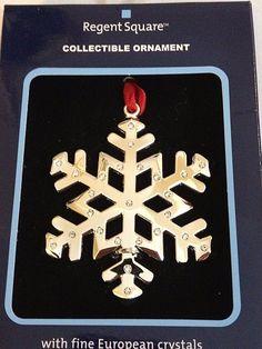 REGENT SQUARE Collectible Ornament w/Fine European Crystals - SILVER SNOWFLAKE #RegentSquare