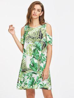 SheIn offers Open Shoulder Flutter Sleeve Tropical Dress & more to fit your fashionable needs. Source by rebekahovercast Dresses Elegant Dresses, Casual Dresses For Women, Cute Dresses, Casual Outfits, Summer Dresses, Clothes For Women, Tunic Dresses, Tropical Dress, Womens Clothing Stores