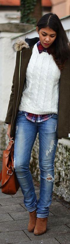 Like the plaid, sweater, jean combo