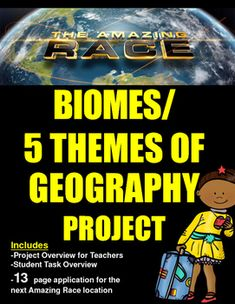 The Amazing Race producers are looking to do a biome themed season next year and they need your help! This integrated project asks focuses on biomes, ecology and the 5 themes of geography.  In order for each student's chosen location to be considered, they will need to conduct research and complete a 13 page application for review.