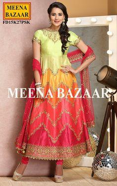 Multi Silk Anarkali Suit - Salwar Kameez Online Shopping For Ethnic Wear: Buy Designer Sarees, Lehengas, Anarkali suits, Salwar Suits,Kurtis,Gowns – Meenabazaar.com
