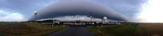 A roll cloud moves over the U.S. National Weather Service's Baltimore/Washington forecast office in Sterling, Va., on the morning of Sept. 16, 2013.
