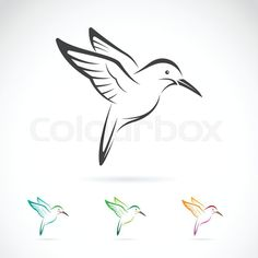 Stock vector of 'Vector image of an hummingbird design on white background'