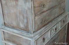 A dry-brushed antique chest of drawers. Thrift Store Furniture, Recycled Furniture, Rustic Furniture, Vintage Furniture, Refurbished Furniture, Gray Wash Furniture, Chalk Paint Furniture, Redoing Furniture, Gray Distressed Furniture