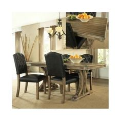 Dining-Table-Set-Rustic-Furniture-5-Piece-Wooden-Kitchen-Dinner-Solid-4-Chairs