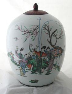 Vintage Chinese Porcelain Melon Jar Vase with Wooden Lid