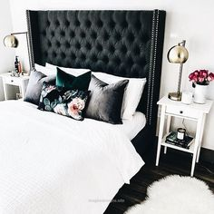 Marvelous Black upholstered headboard. And shout out to the green velvet pillow. The post Black upholstered headboard. And shout out to the green velvet pillow…. appeared first on Designs 201 ..