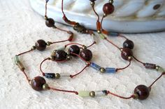 Red Jasper Mixed Stone Necklace Hand Knotted Cord by StoneandFiber