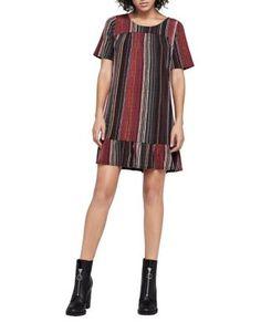Bcbgeneration Wavy Stripe Ruffle-hem Dress In Port Multi White Shift Dresses, Tent Dress, Ruffle Dress, Flare Dress, Sheath Dress, Dresses Online, Cold Shoulder Dress, Short Sleeve Dresses, Clothes