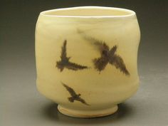 Ceramic Bird Cup with Tree Original Glaze Painting Yunomi Tea Cup.