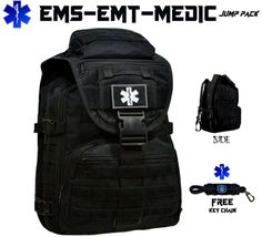 Custom EMT EMS MEDIC On Duty / Off Duty Backpack in Black with FREE STAR OF LIFE Key Chain - First Aid Pack Emergency Services Bag  ~SPECIFICATIONS~ ***THIS IS A FULL SIZE TACTICAL STYLE PACK*** Main Compartment 20.5 H x 12.6W x 5.1D Secondary Compartment 16.5H x 10.6W x 3.5D  Upper Front Pocket 4H x 8.7W x 2.5D Lower Front Pocket 10H x 8.7W x 2.5D Material 800D high quality Ballistic Nylon material ~FEATURES~ 6 COMPARTMENTS ALONG WITH 2 SUB COMPARTMENTS WATER & DUST COVER WITH 2 EXT...