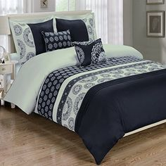 Deluxe Reversible Chelsea Comforter Set 100 Cotton 300 Thread Count Bedding woven with superior singleply yarn 6 Piece King  California King Size Comforter Set Black and light Gray >>> BEST VALUE BUY on Amazon