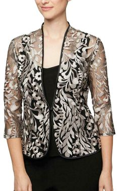 Alex Evenings Black Womens Embroidered Jacket Top Set Top C Blazer Size Petite 10 (M) - Tradesy Kurta Designs, Blouse Designs, Lace Blazer, Lace Jacket, Stylish Dresses, Fashion Dresses, Alex Evenings, Designs For Dresses, Jackets For Women